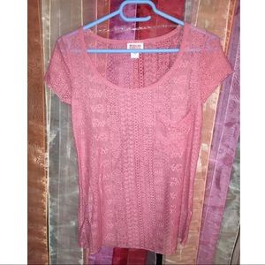 Mossimo light pink short sleeve see through top Xs